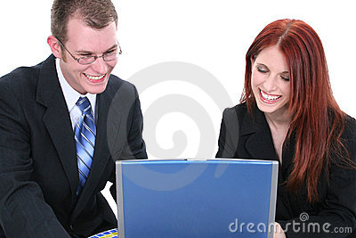 Business Man and Woman Team Working on Laptop Computer