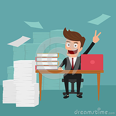 Free Business Man Work Hard And Love His Job. Royalty Free Stock Photography - 59728497