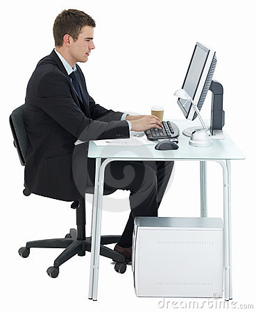 stock photography business man working at office desk