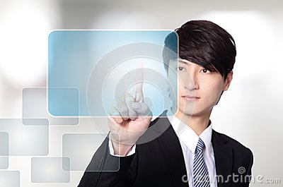 Business man working with virtual screen