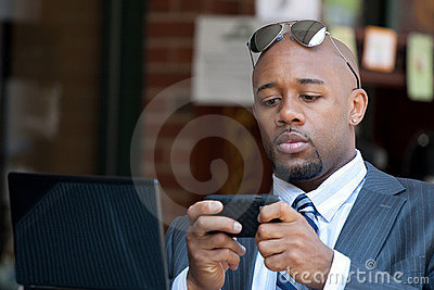 Business Man Working Wirelessly