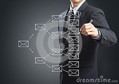 Business man writing e-mail sign