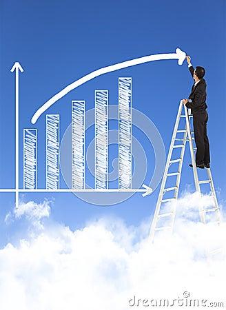 Free Business Man Writing Growth Bar Chart Stock Photo - 39103330