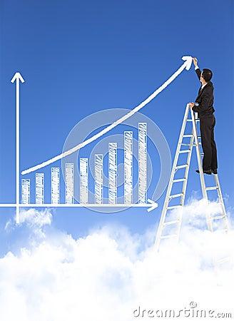 Free Business Man Writing Growth Bar Chart Stock Photos - 39235653