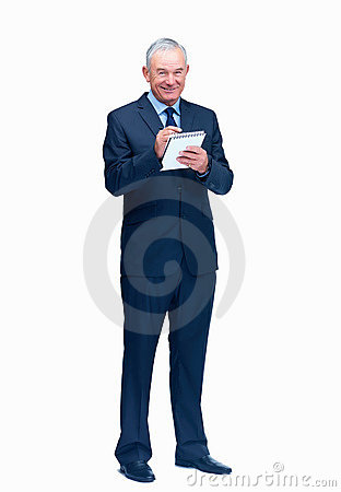 Business man writing on a notepad over white