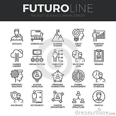 Free Business Management Futuro Line Icons Set Stock Image - 62806651