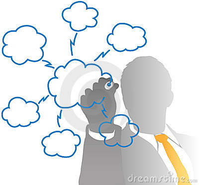 Business IT manager drawing cloud computing chart