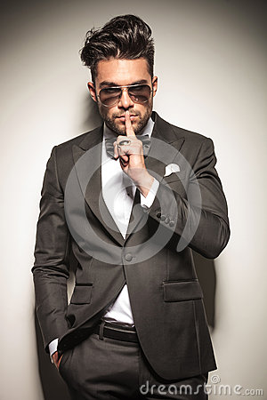 Free Business Manl Showing The Silent Gesture Stock Photos - 51173853