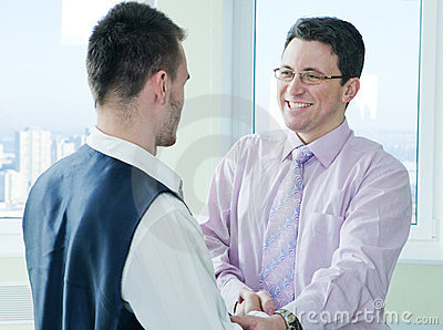 Business mans have a lucky meet with colleague