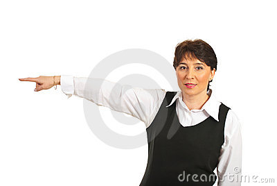 Business mature woman pointing to the side