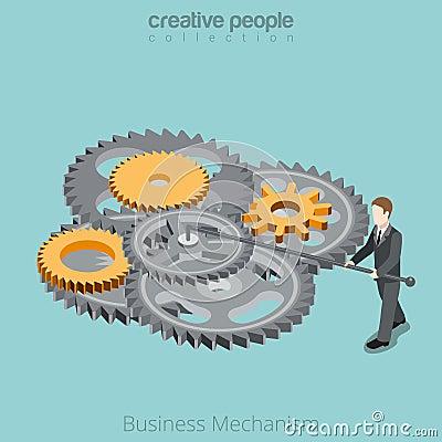 Free Business Mechanism Man Gear Wheel Flat 3d Isometri Royalty Free Stock Photos - 73371848