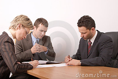 Business meeting - 3 people - signing contract - general