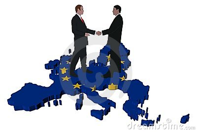 Business meeting on EU map flag