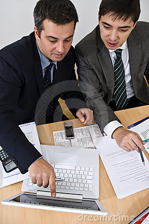 Free Business Meeting Explanation On A White Laptop Stock Image - 3659841