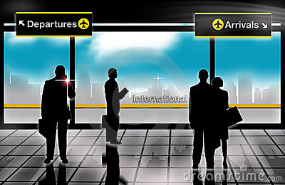 Business men arrivals departures lounge airport