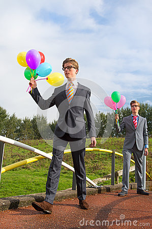 Business men with balloons