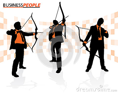 Business Men with Bows and Arrows