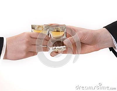 Business men celebrating