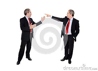 Business men debating
