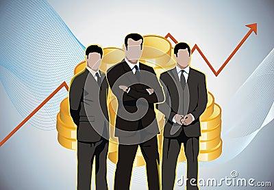Business men economic charts gold money