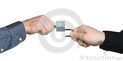 Business men hands locking a padlock