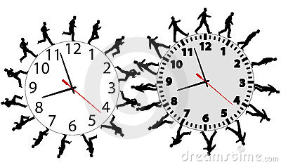 Business men in a hurry run & walk on time clocks