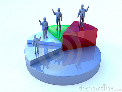 Business men pie chart