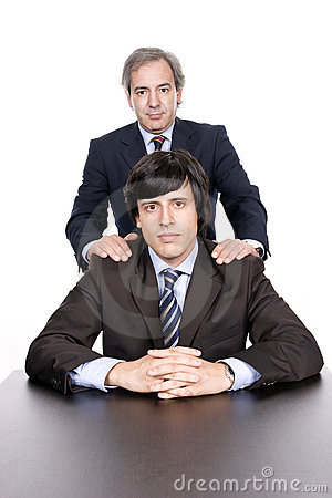 Business men portrait, father and son