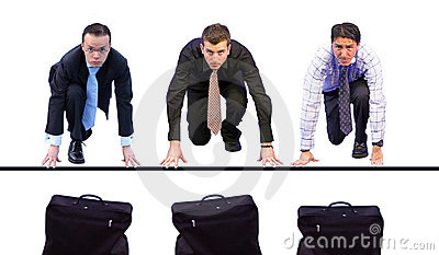 Business men racing for briefcases