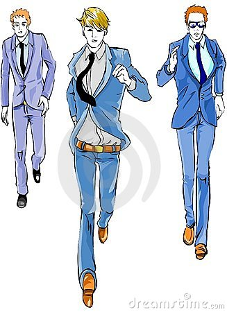 Business Men Running