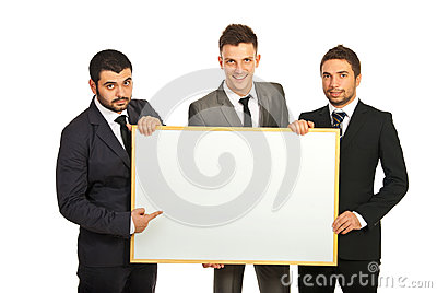 Business men team with banner