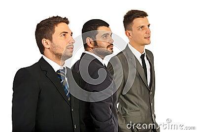 Business men team looking away