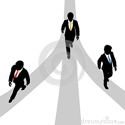 Business men walk diverge on 3 paths