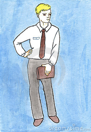 Business men watercolors drawing