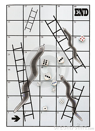 Business metaphor snakes and ladders, many dice