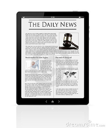 Business news at digital tablet
