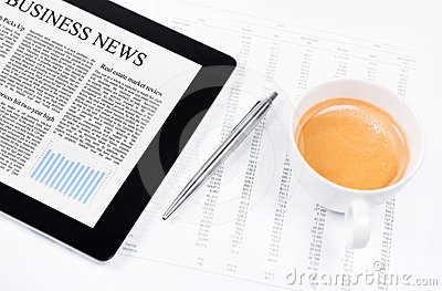 Business News On Modern Tablet PC