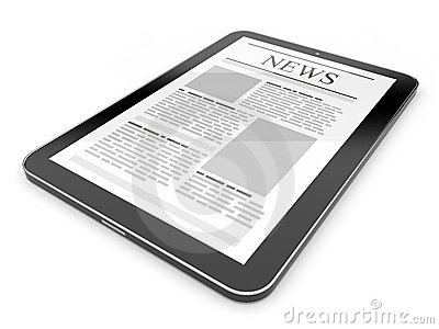 Business news on tablet pc. Mobile device