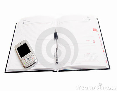 Business Objects - Diary open with cellphone