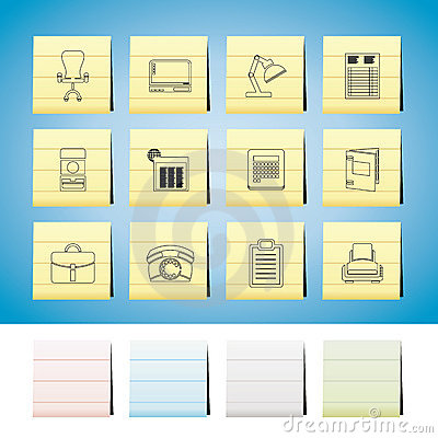 Business, office and firm icons - vector icon set