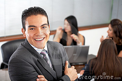 Business Office man with his team