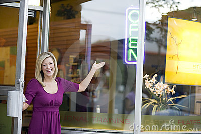 Business owner opening shop