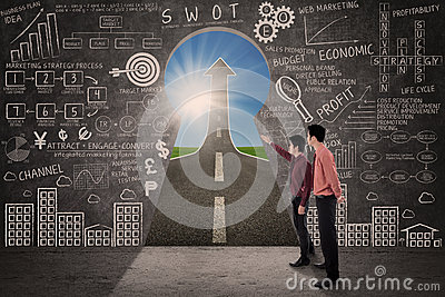 Business partner look for marketing success strategy concept