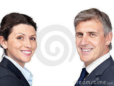 Business partners smiling isolated against white