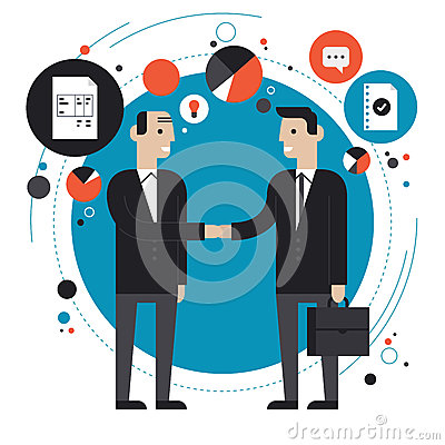 Free Business Partnership Flat Illustration Stock Images - 37430164