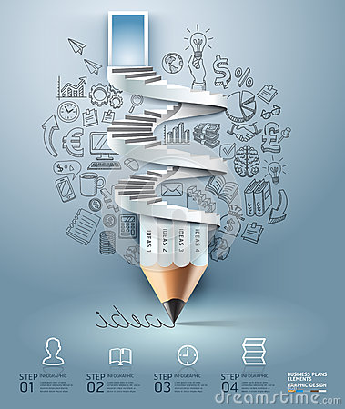 Free Business Pencil Staircase Infographics Option. Royalty Free Stock Photos - 38941398