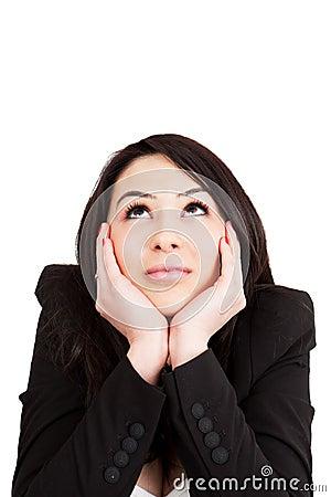 Business pensive woman having an idea