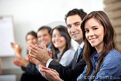 Business people applauding