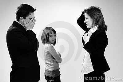 Business people arguing and child listening