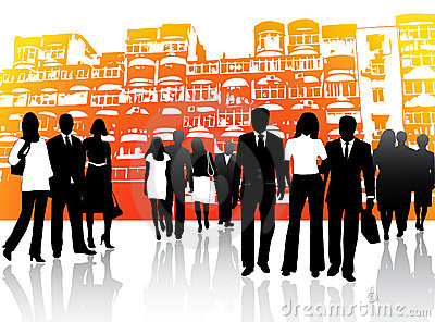 Business people and buildings